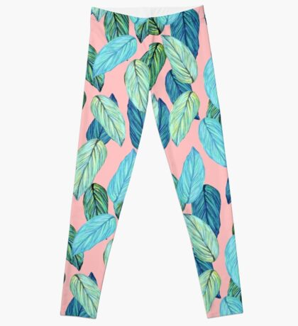 Tropical Leaves in Aqua and blue on coral Leggings