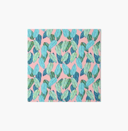 Tropical Leaves in Aqua and blue on coral Art Board