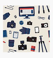 Photographer Set Seamless Pattern - Cameras, Lenses and Photo Equipment Photographic Print