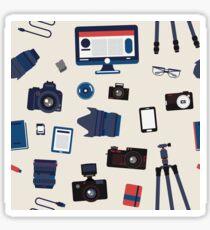 Photographer Set Seamless Pattern - Cameras, Lenses and Photo Equipment Sticker