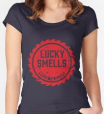 Lucky Smells Lumbermill Red (A series of Unfortunate events) Women's Fitted Scoop T-Shirt