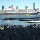 QE2 Enters New York Harbor, Jersey City Skyline, Hudson River by lenspiro
