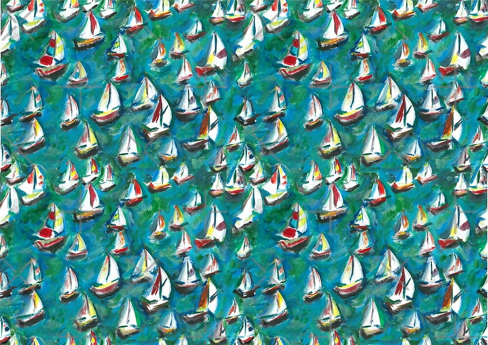 Sailing Boat Races harbour by Colour Angel by KV