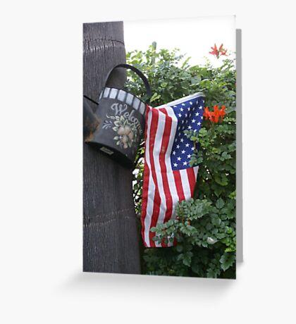 Patriotic Welcome; Wat Garden, La Mirada, CA USA (*challenge note 1;Vertical Lines on Can/Vertical Angle of lines of Flag; Challenge note 2; Commerative 911 Dedication 911 Read Description))  Greeting Card