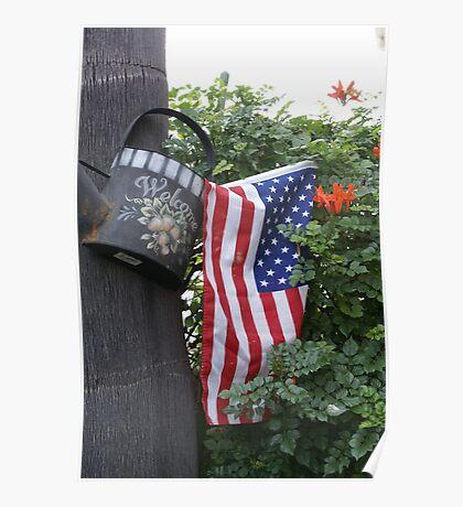 Patriotic Welcome; Wat Garden, La Mirada, CA USA (*challenge note 1;Vertical Lines on Can/Vertical Angle of lines of Flag; Challenge note 2; Commerative 911 Dedication 911 Read Description))  Poster
