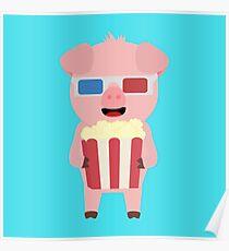 Cinema Pig with Popcorn Poster