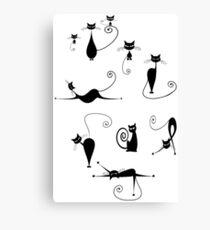 Black Cats Cat Shirt Funny Canvas Print