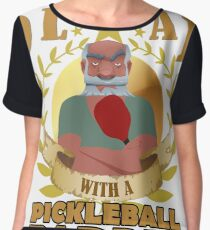 NEVER UNDERESTIMATE AN OLD MAN WITH A PICKLEBALL PADDLE T shirt Chiffon Top