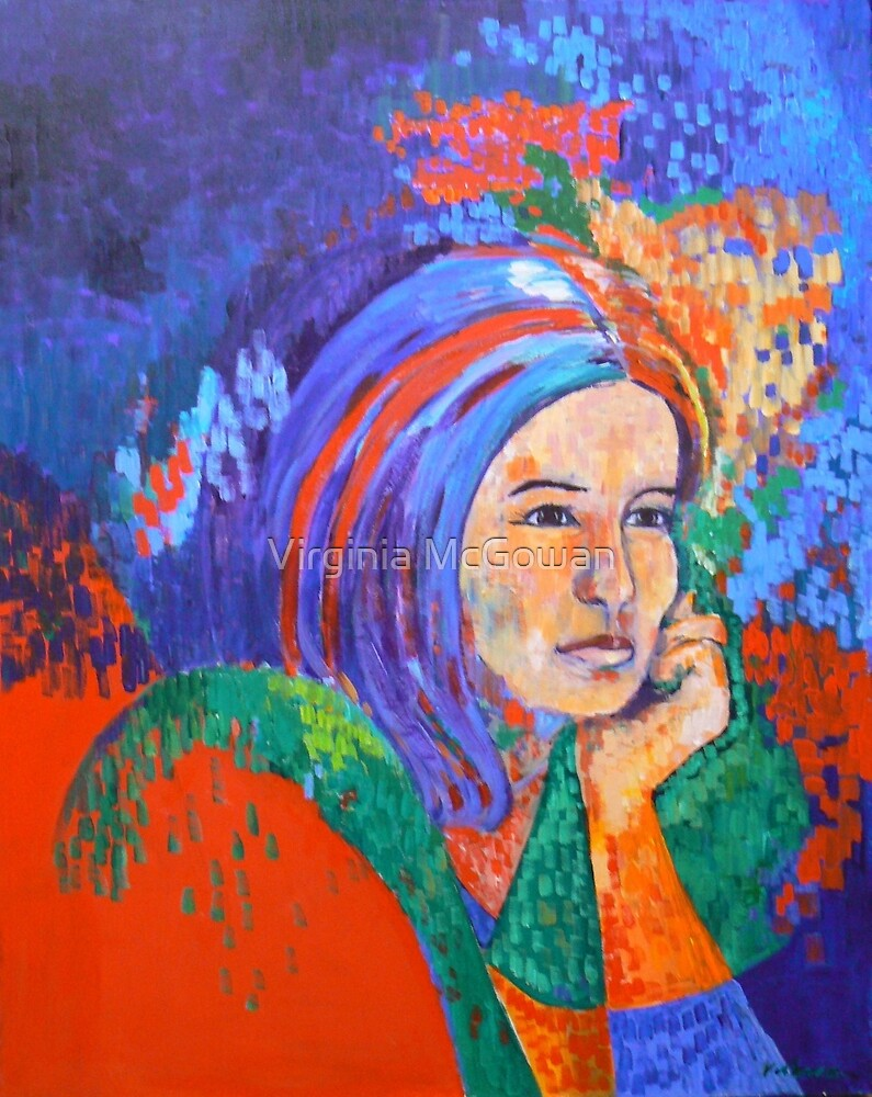 Girl in Blue scarf by Virginia McGowan