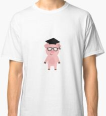 Nerd Pig with glasses Classic T-Shirt