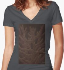 Coral Women's Fitted V-Neck T-Shirt
