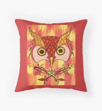 Owl inferno Throw Pillow