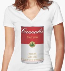 Cannabis Sativa Women's Fitted V-Neck T-Shirt
