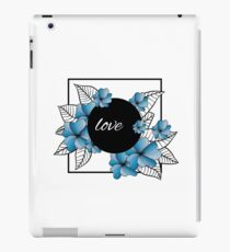 blue flowers and leaves in square frame iPad Case/Skin