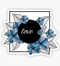 blue flowers and leaves in square frame Sticker