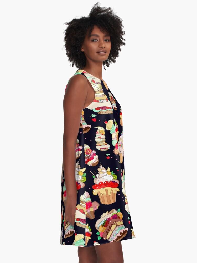Alternative Ansicht von Muster mit den fantastischen Kuchen A-Linien Kleid