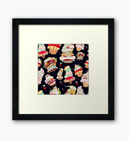 Pattern with the fantastic cakes Framed Print