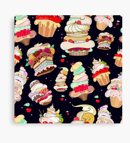 Pattern with the fantastic cakes Canvas Print