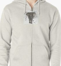 Ink and Brush Elephant Zipped Hoodie