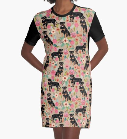 Rottweiler florals cute dog pattern pet friendly dog lover gifts for all dog breeds by PetFriendly Graphic T-Shirt Dress