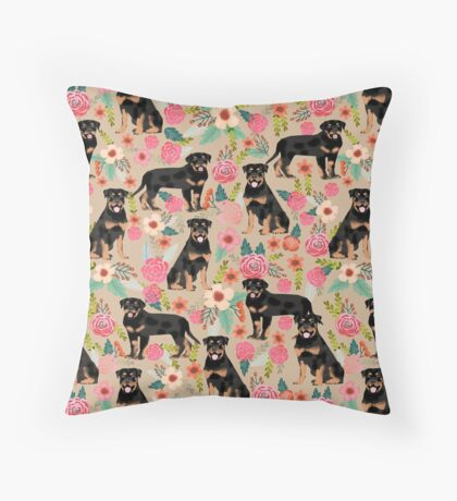 Rottweiler florals cute dog pattern pet friendly dog lover gifts for all dog breeds by PetFriendly Throw Pillow