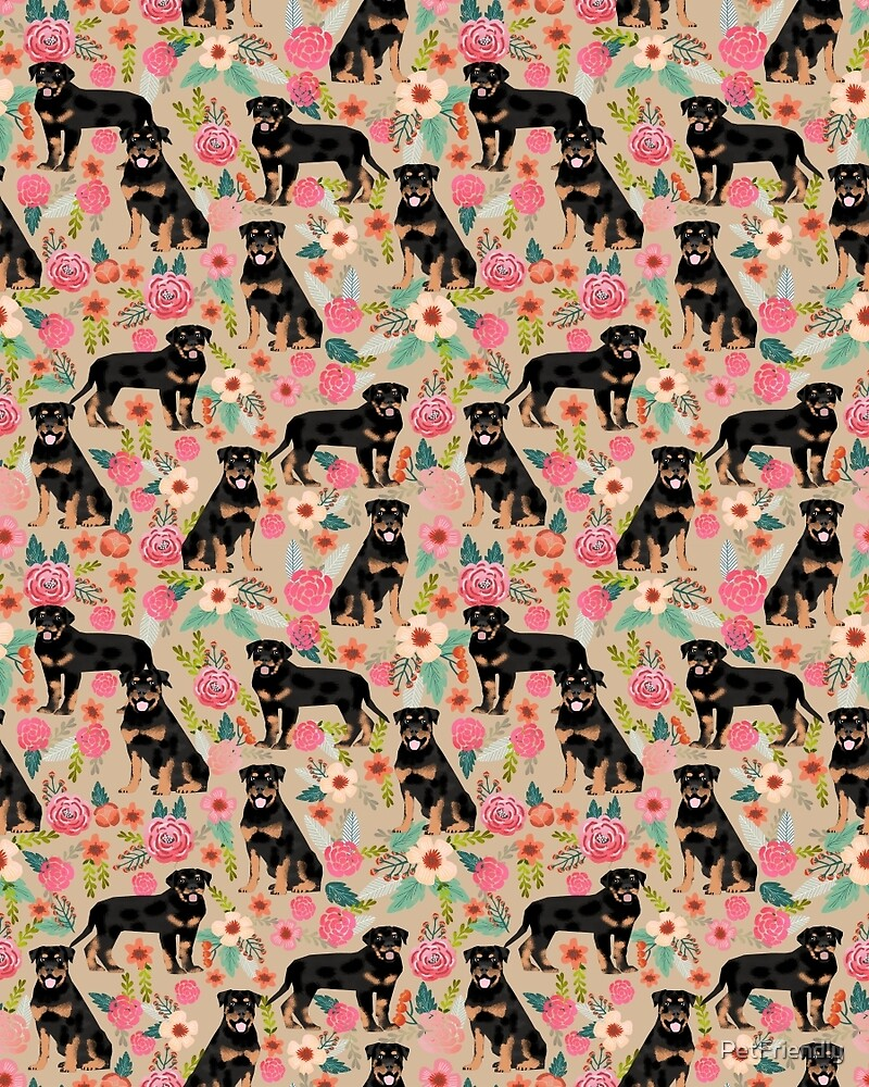 Rottweiler florals cute dog pattern pet friendly dog lover gifts for all dog breeds by PetFriendly by PetFriendly