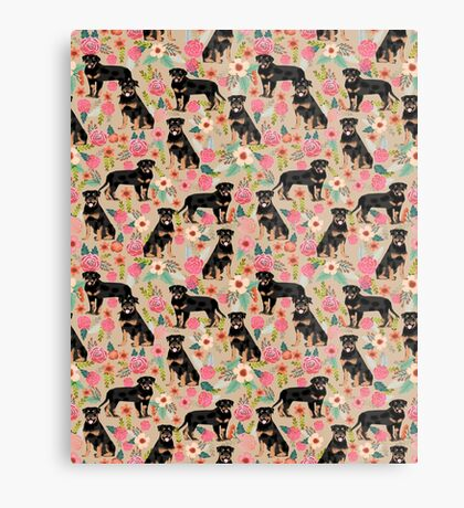 Rottweiler florals cute dog pattern pet friendly dog lover gifts for all dog breeds by PetFriendly Metal Print