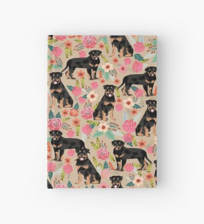 Rottweiler florals cute dog pattern pet friendly dog lover gifts for all dog breeds by PetFriendly Hardcover Journal