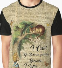 Alice in Wonderland Quote,Cheshire Cat,Vintage Dictionary Art Graphic T-Shirt