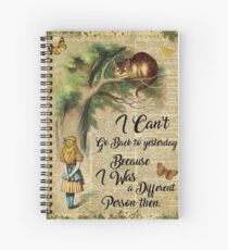 Alice in Wonderland Quote,Cheshire Cat,Vintage Dictionary Art Spiral Notebook