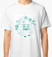 Vector illustration of variety scientific, education elements in a circle.  Classic T-Shirt