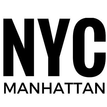 Etiqueta engomada del texto de NYC Manhattan para los amantes de New York City de cadinera