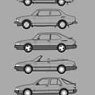 Saab Classic Car Outline Illustration by RJWautographics