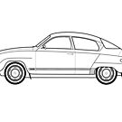 Saab 96 Outline Drawing  by RJWautographics