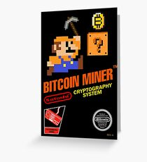Bitcoin Geek Nintendo Gaming Funny Mario Mashup  Greeting Card