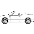 Saab 900 convertible outline drawing by RJWautographics