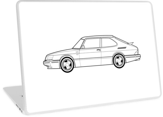 u0026quot saab 900 turbo outline drawing u0026quot  laptop skins by rjwautographics
