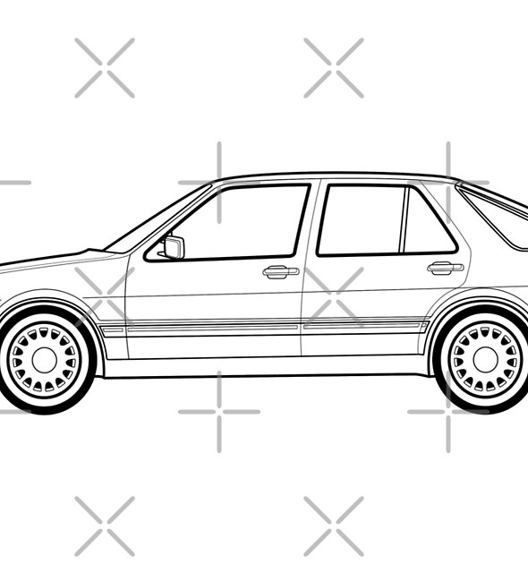 Saab 9000 outline drawing by RJWautographics