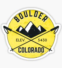 BOULDER COLORADO Ski Skiing Mountain Mountains Skiing Crossed Skis Snowboard Snowboarding 4 Sticker