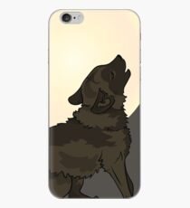 Shaggy Dog Wolf Cub Howling at a Full Moon iPhone Case