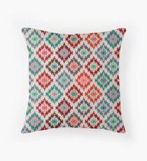 Kilim Inspired Diamond Motif - Vibrant Palette Throw Pillow