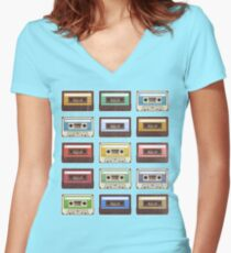 Cassettes Women's Fitted V-Neck T-Shirt
