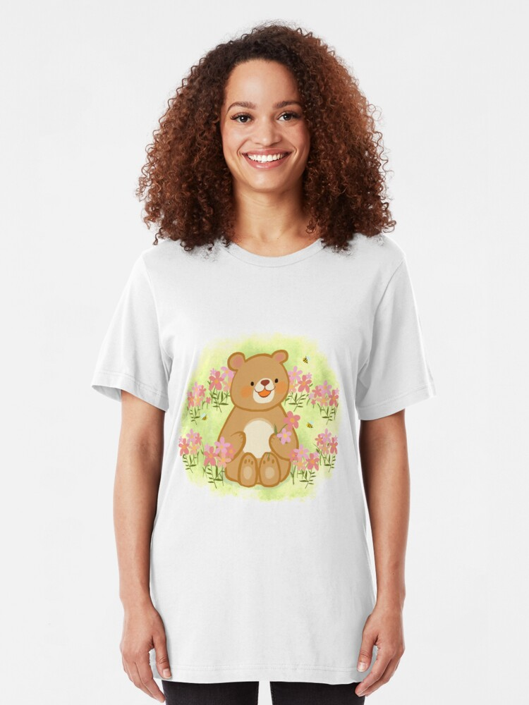 Alternative Ansicht von Bienenblüten und ein Bär Slim Fit T-Shirt