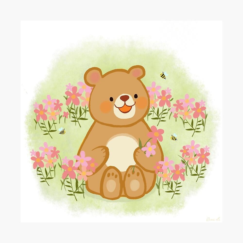 Bienenblüten und ein Bär Fotodruck