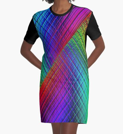 Textured Rainbow Graphic T-Shirt Dress