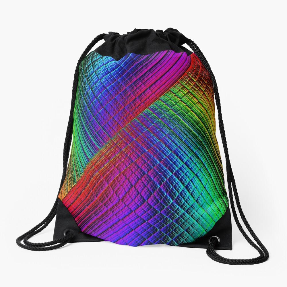 Textured Rainbow Drawstring Bag