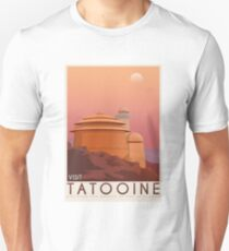 Tatooine poster. Tatooine retro travel. Starwars planet illustration. Sci fi vintage print. Luke skywalker. Landspeeder. Two mons landscape. Return of the jedi. Unisex T-Shirt