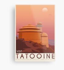 Tatooine poster. Tatooine retro travel. Starwars planet illustration. Sci fi vintage print. Luke skywalker. Landspeeder. Two mons landscape. Return of the jedi. Metal Print