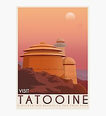 Tatooine poster. Tatooine retro travel. Starwars planet illustration. Sci fi vintage print. Luke skywalker. Landspeeder. Two mons landscape. Return of the jedi. Photographic Print