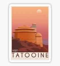 Tatooine poster. Tatooine retro travel. Starwars planet illustration. Sci fi vintage print. Luke skywalker. Landspeeder. Two mons landscape. Return of the jedi. Sticker